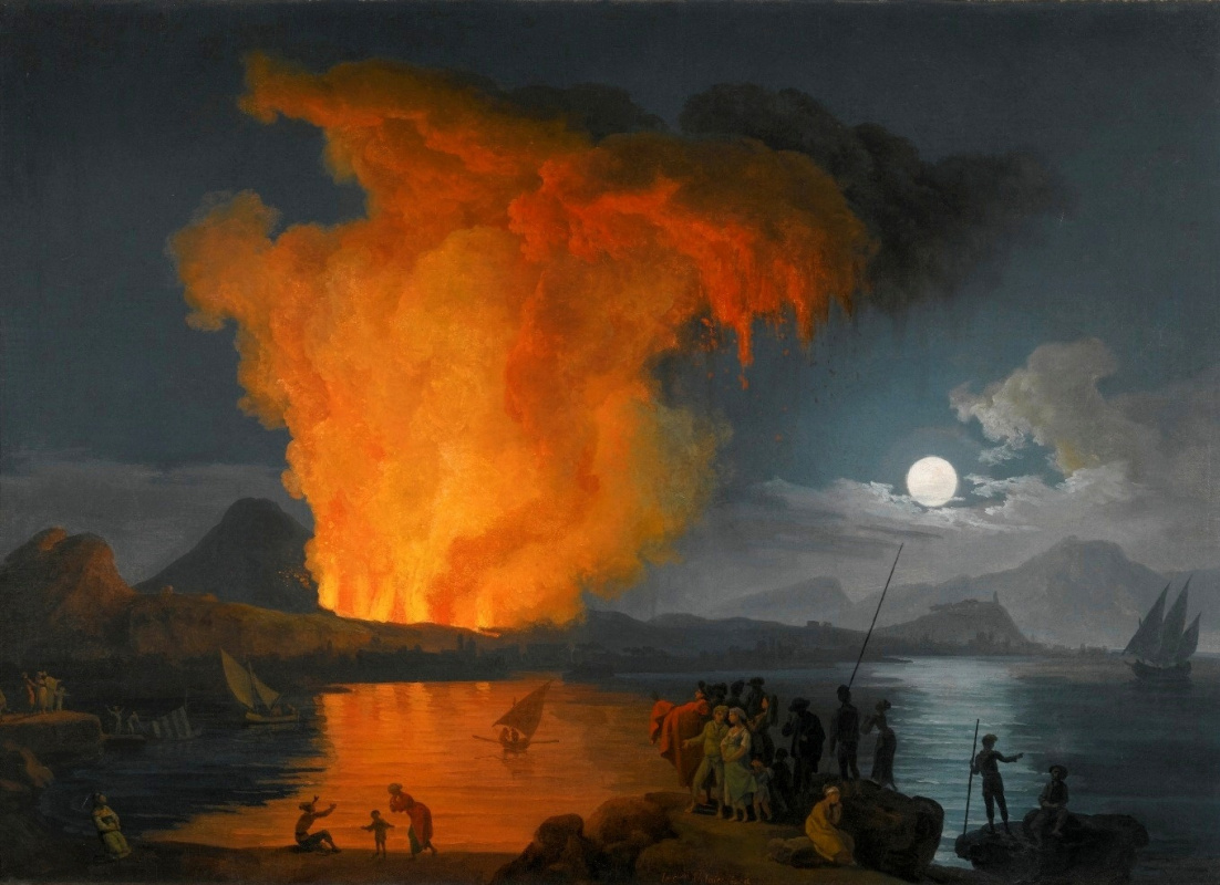 Pierre-Jacques Woller. The eruption of mount Vesuvius in the moonlight.