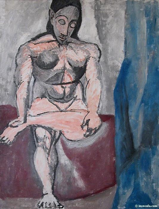 """Пабло Пикассо. Сидящая фигура. Эскиз к """"Авиньонским девицам"""""""