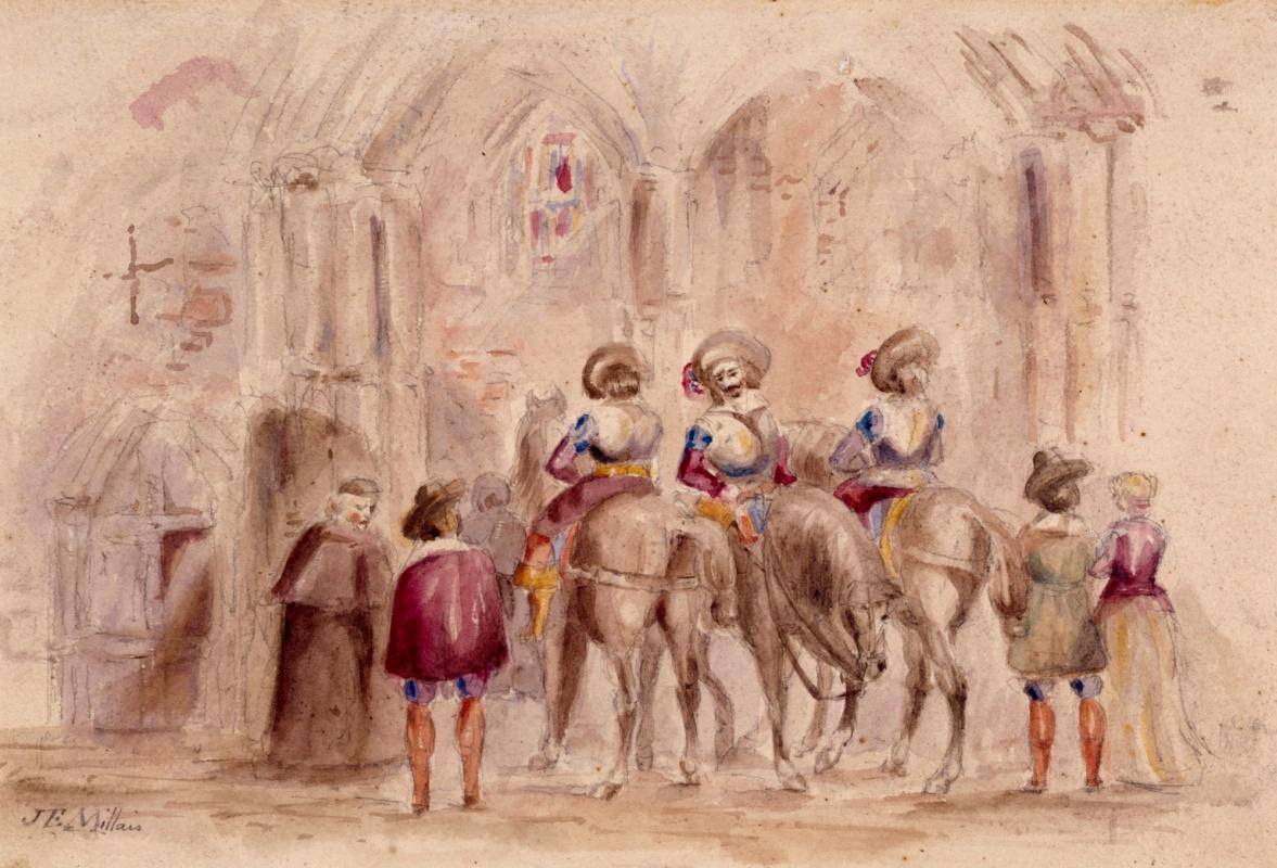 Джон Эверетт Милле. Священник и всадники у храма