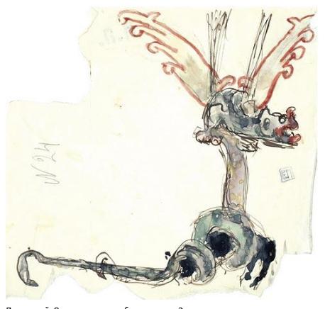 Elena Dmitrievna Polenova. Serpent bird. Ornament for wood carving. Sketch option
