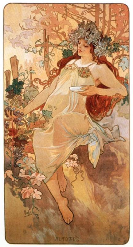 "Alphonse Mucha. Autumn from the series ""the seasons"""