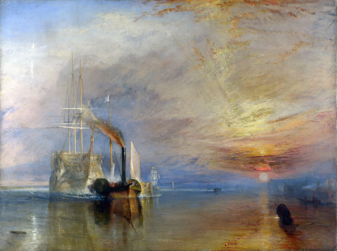 Joseph Mallord William Turner. The Fighting Temeraire tugged to her last berth to be broken up