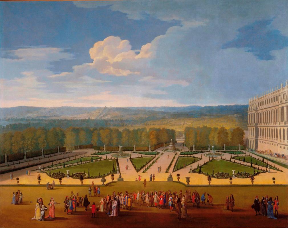 Etienne Allegroine. Promenade of Louis XIV in the gardens of Versailles overlooking the North parterre