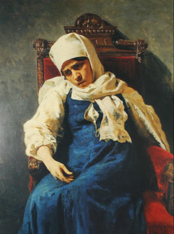 "Ilya Efimovich Repin. Portrait of actress Pelageya Antipovna Strepetova in the role of Elizabeth in the drama of A. F. Pisemsky ""Bitter Fate."" State Tretyakov Gallery."