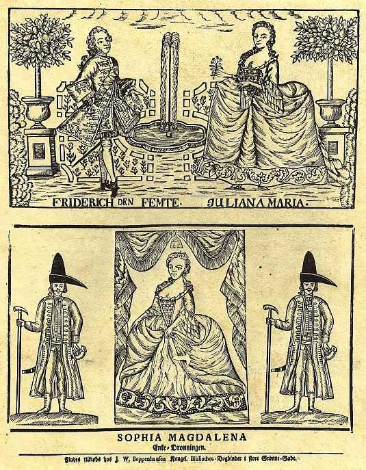Король Фридрих V с королевой Юлианой Марией и королевой-матерью Софией Магдалиной