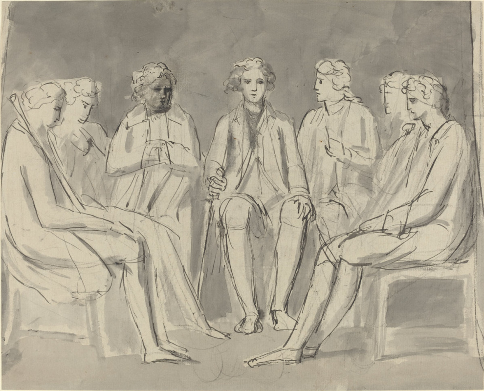 William Blake. The group sitting in a circle of men