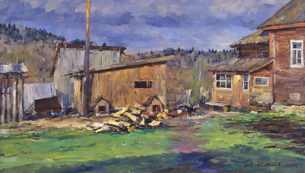 Alexander Victorovich Shevelyov. Rustic двор1.Oil on canvas 34,5 # 60,5 cm 2010