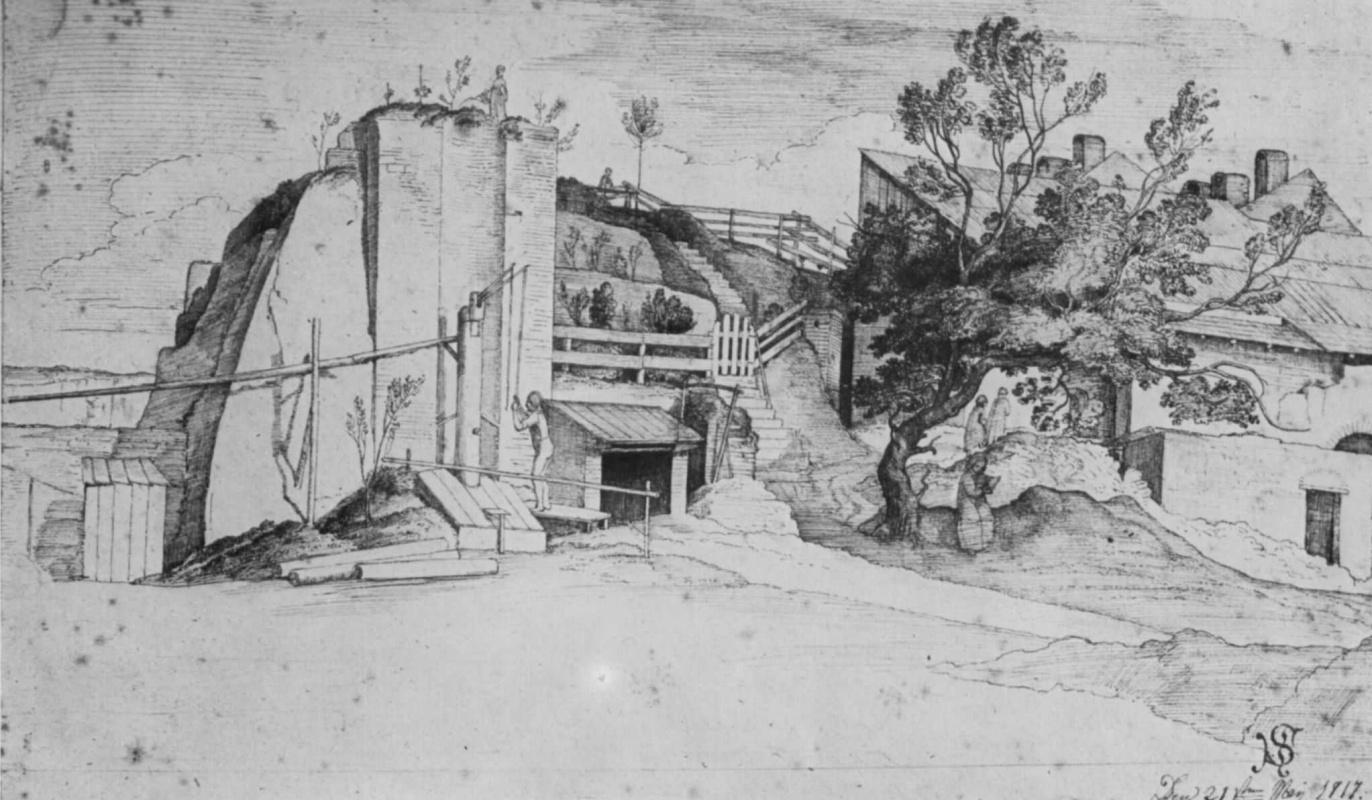 Юлиус Шнорр фон Карольсфельд. Пейзаж с хижинами в скалах