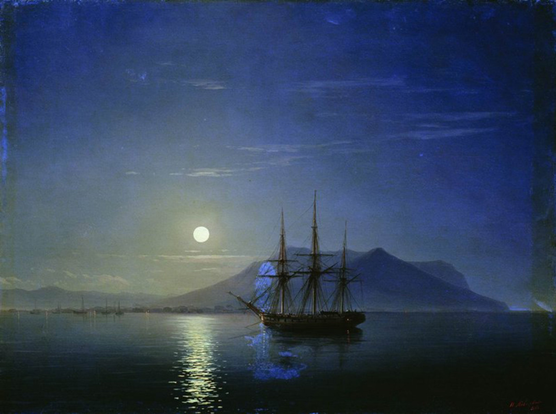 Ivan Aivazovsky. Sailboat off the coast of Crimea in the moonlit night