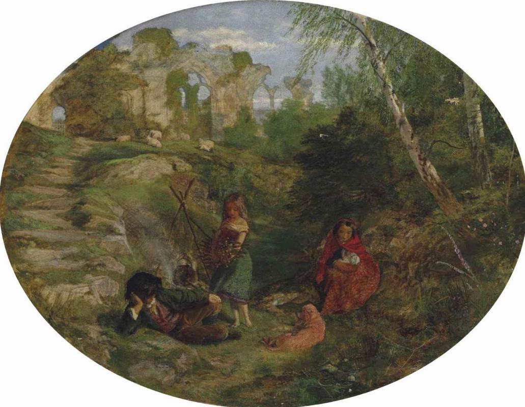 Arthur Hughes. Gypsies (oval)