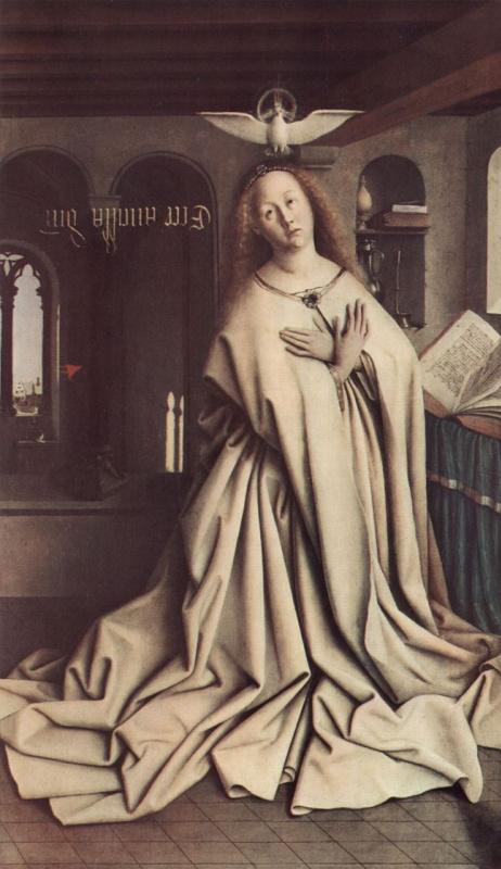 Губерт ван Эйк. Гентский алтарь, алтарь мистического агнца, правая створка внешняя сторона, центральная сцена: Благовещение