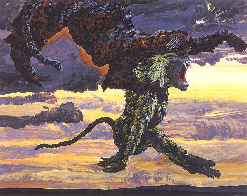 Melissa Miller. Baboon and leopard