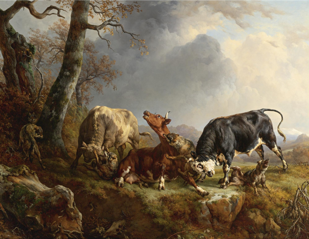 Jacques Raymond Brascassa. Two bulls protect a cow from wolves attack
