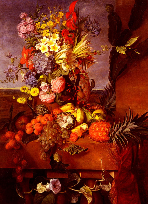 Эмилия Бурбон. Ваза с цветами и экзотическими фруктами