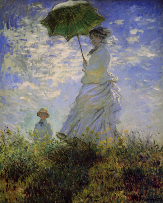 Claude Monet. Woman with an umbrella (Camilla Monet and son Jean)