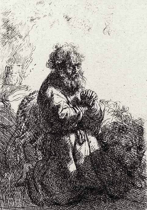 Рембрандт Ван Рейн. Святой Иероним на молитве