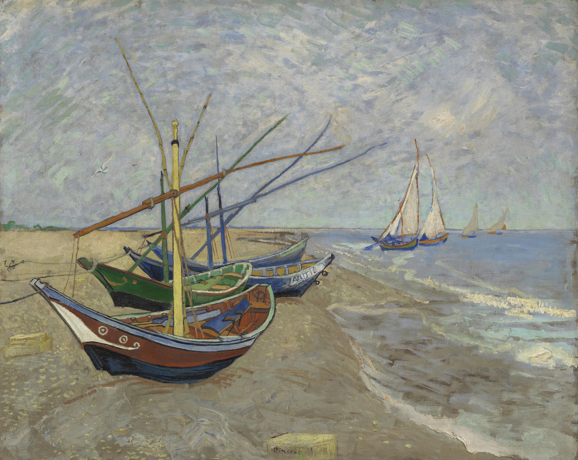 Винсент Ван Гог. Рыбацкие лодки на берегу у Сент Мари де ля Мер