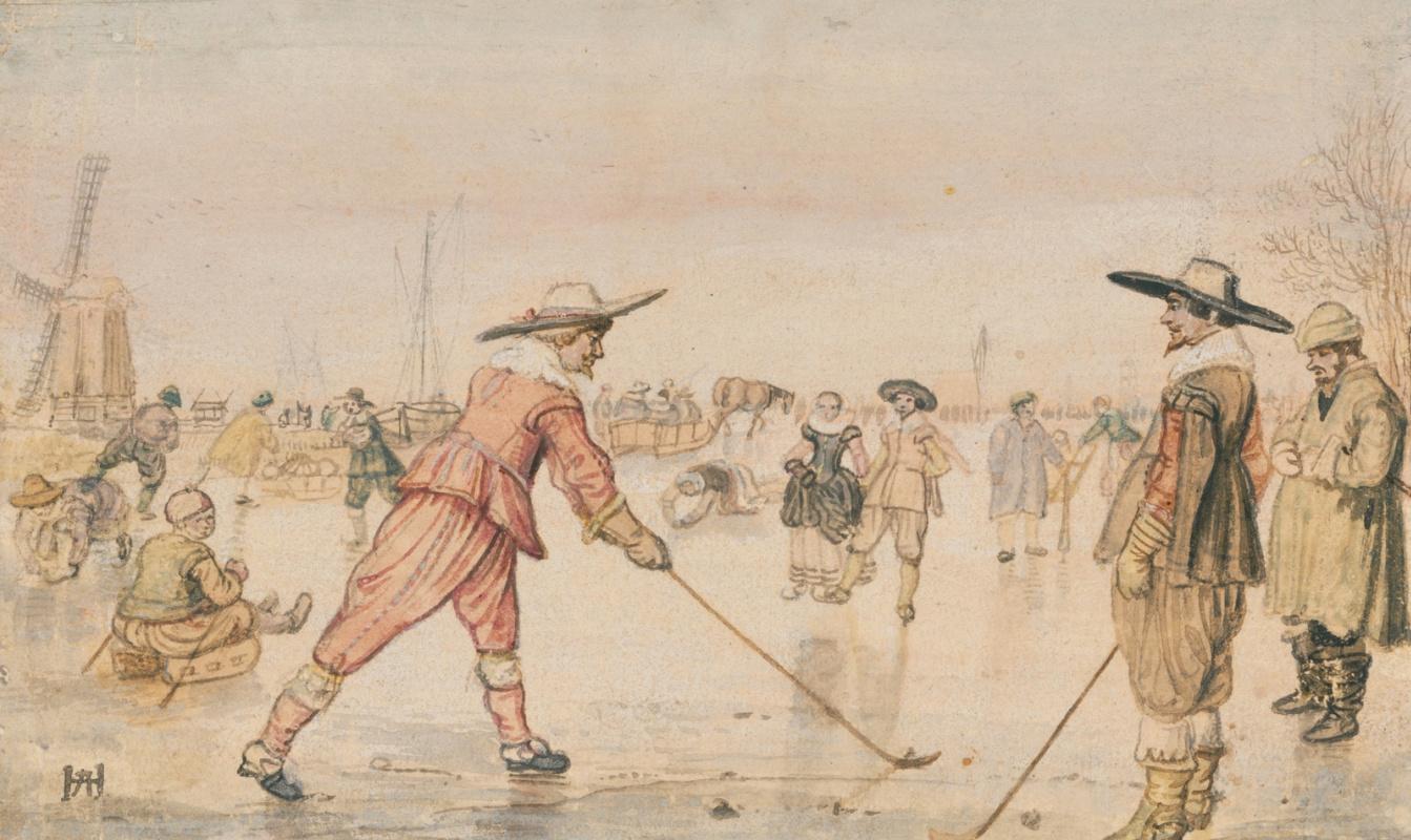 Hendrik Avercamp. Winter scene with two golfers