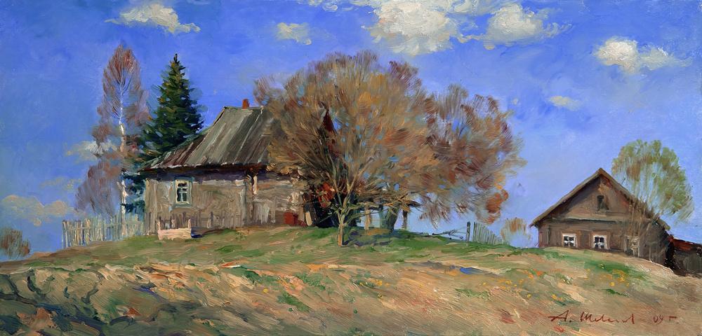 Alexander Victorovich Shevelyov. Spring.Oil on canvas 25,2 # 52,2 cm, 2009