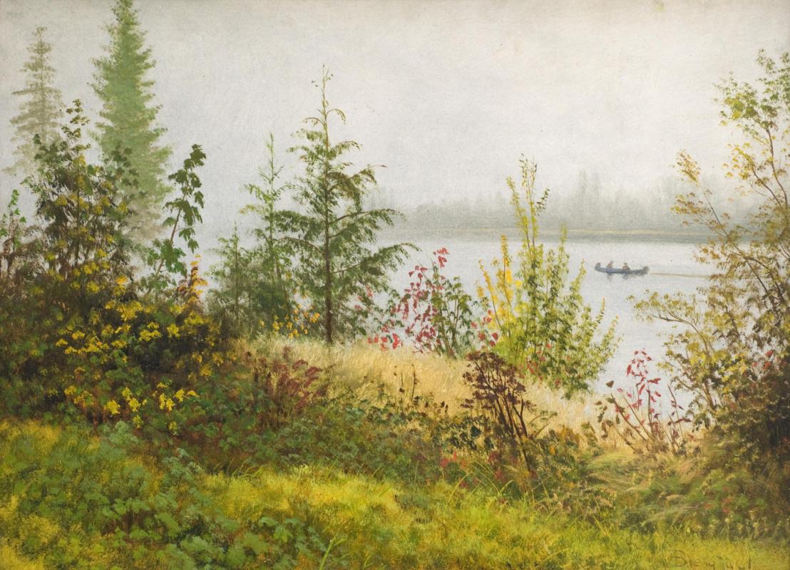 Альберт Бирштадт. Каноэ на Северной реке. Эскиз