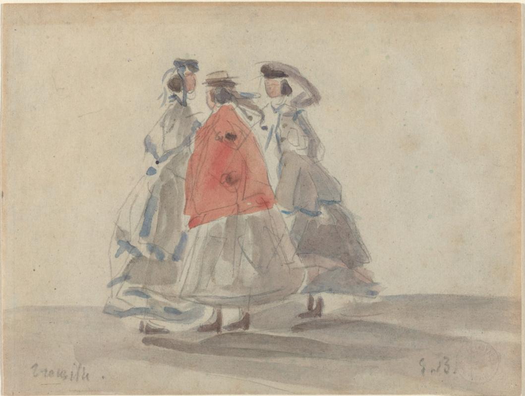 Eugene Boudin. Three women in Trouville