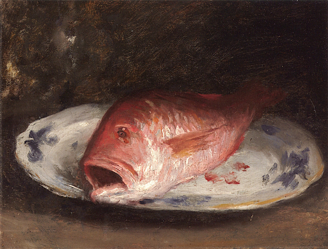 William Merritt Chase. Red snapper at blue and white dish