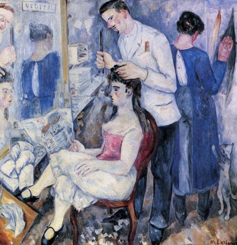 Михаил Федорович Ларионов. Девушка у парикмахера (Дамский парикмахер)