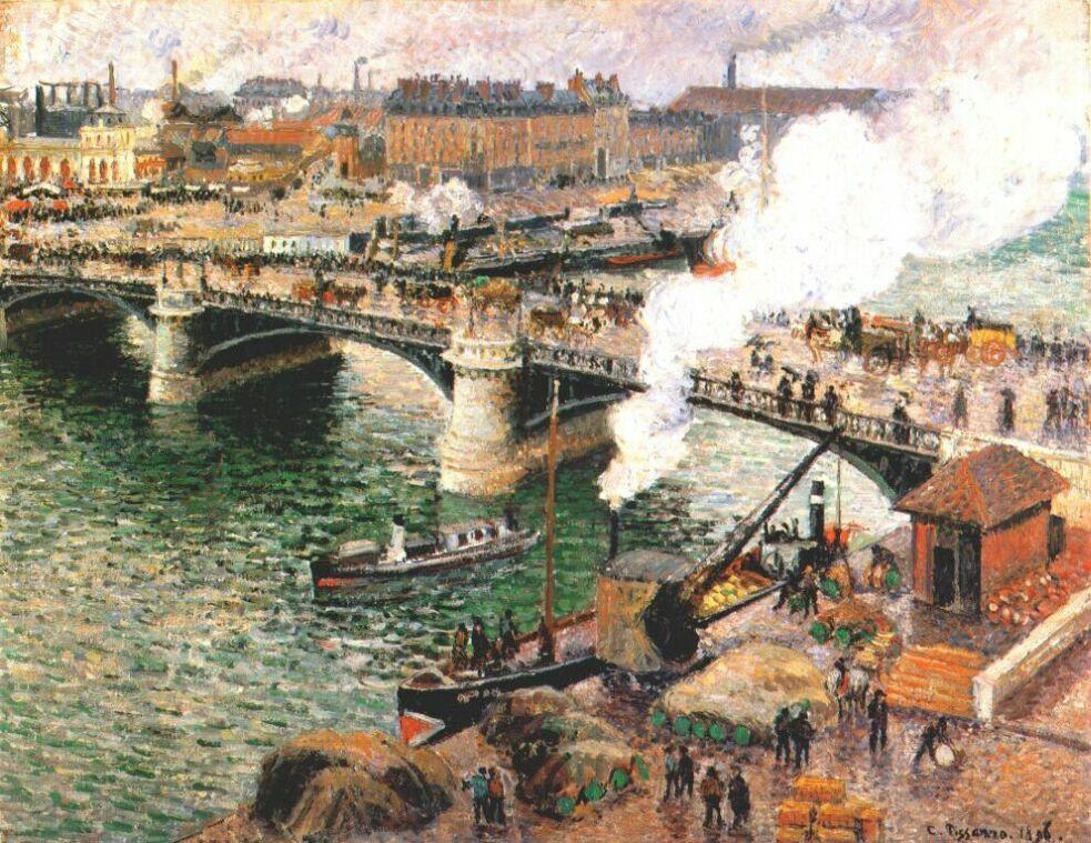 Camille Pissarro. The Boieldieu bridge in wet weather