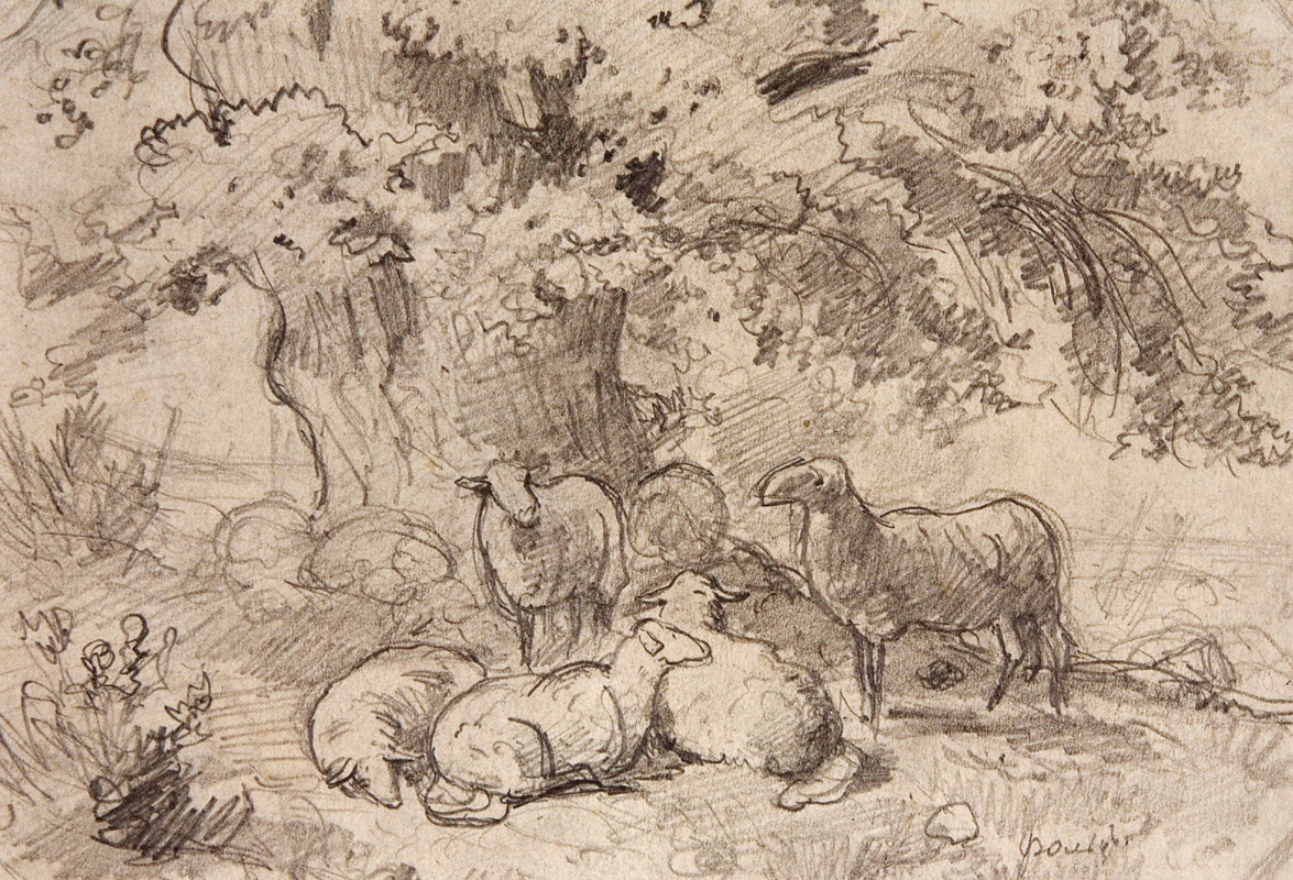 Ivan Shishkin. A flock of sheep under a tree