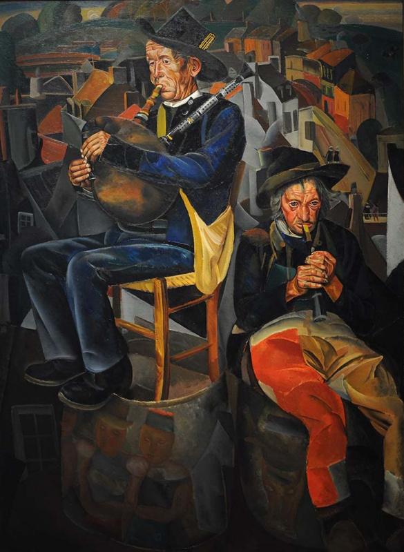 Борис Дмитриевич Григорьев. Крестьяне, играющие на дудках