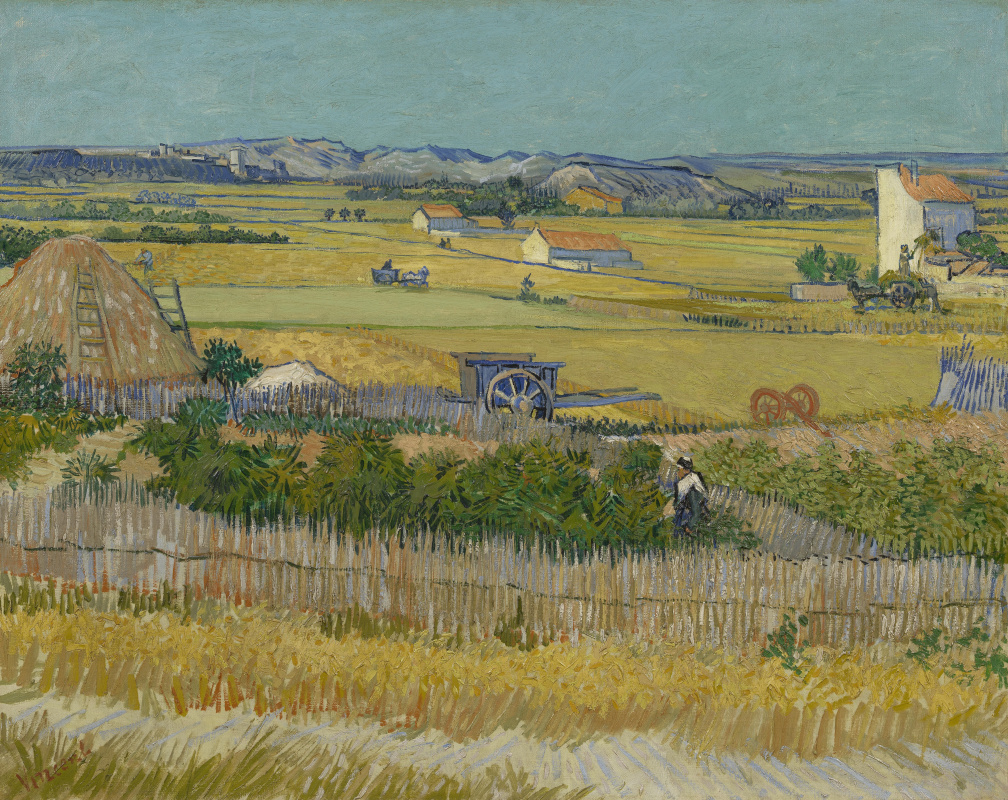 Vincent van Gogh. Harvest at La Crau with Montmajour in the background