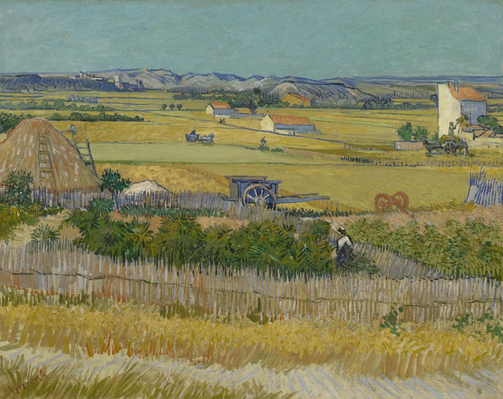 Винсент Ван Гог. Сбор урожая в Ла Кро с Монтмажор на заднем плане