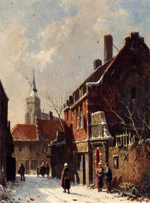 Адрианус Эверсен. Фигуры на улицах голландского города зимой