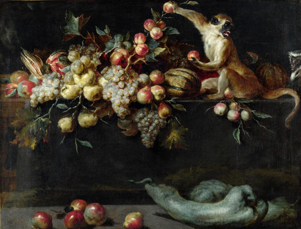 Ян Рус. Натюрморт с фруктами и двумя обезьянами