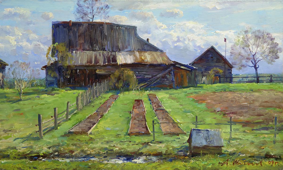 Alexander Victorovich Shevelyov. May in Kolokolush.Orgalit, oil 30 x 50 cm 2009