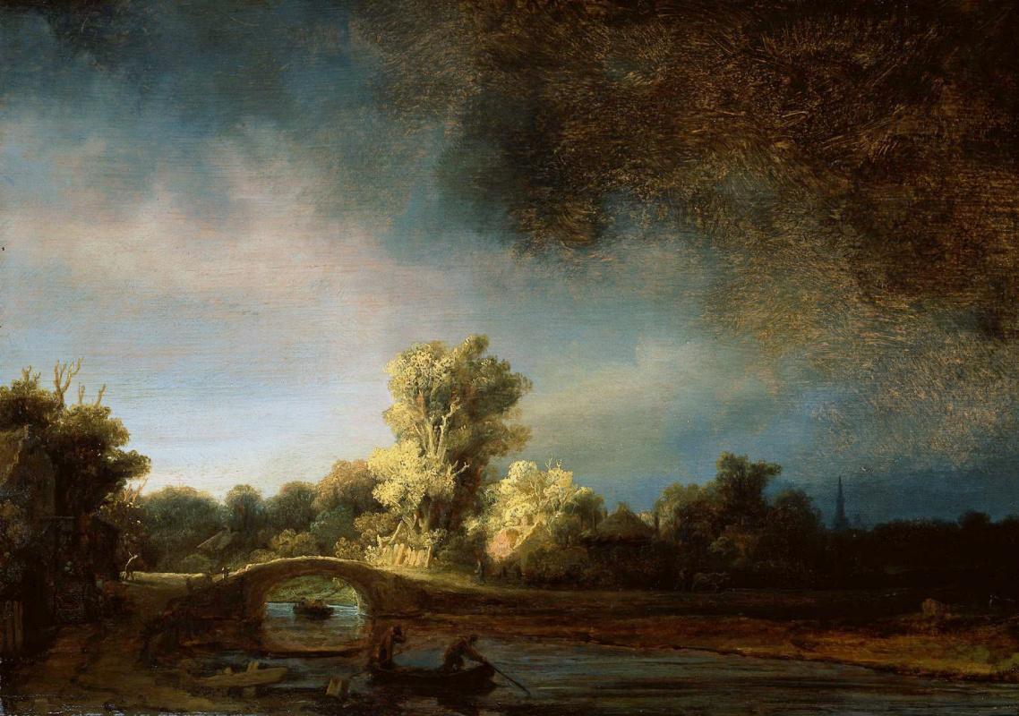 Рембрандт Ван Рейн. Пейзаж с мостом