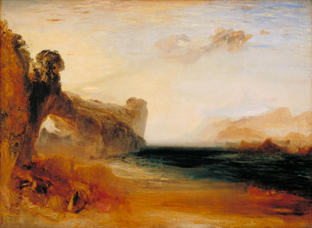 Joseph Mallord William Turner. Rocky Bay with classic shapes