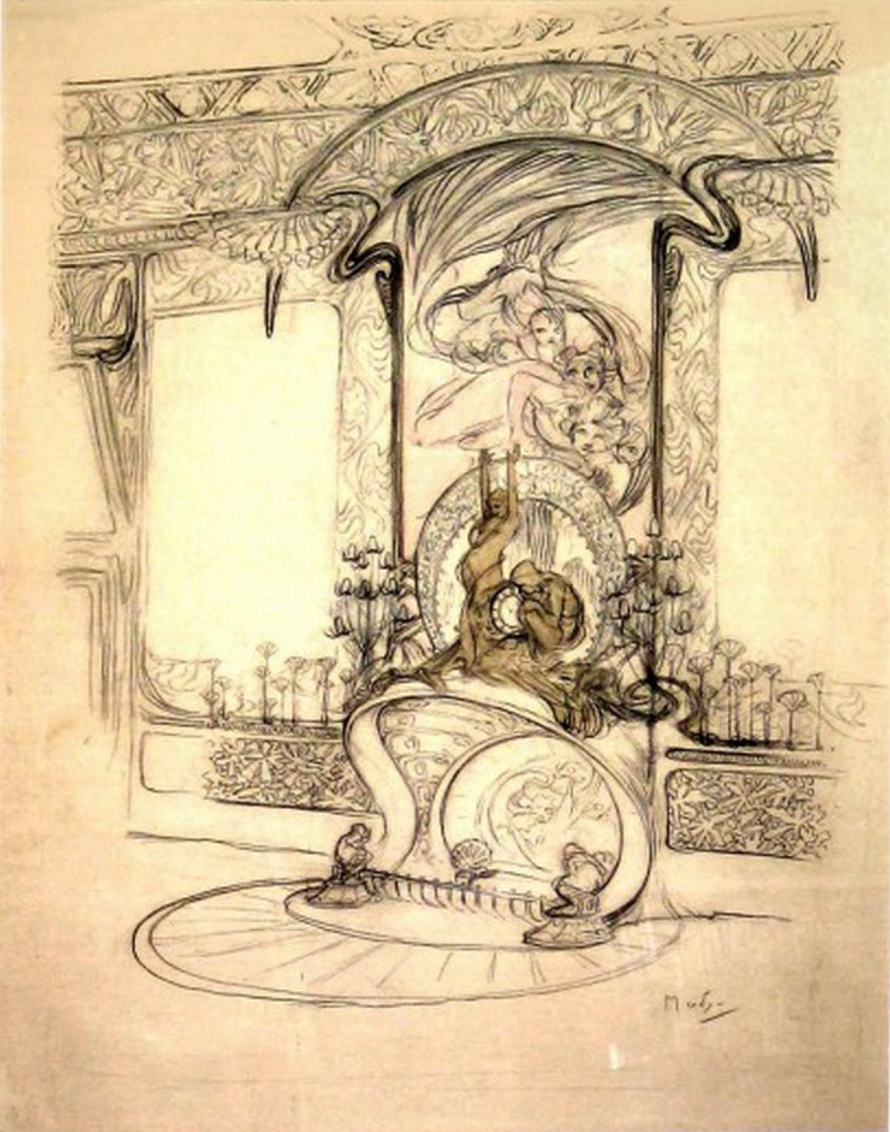 Альфонс Муха. Интерьер бутика Жоржа Фуке. Эскиз дизайна камина с зеркалом и статуэтками и деталями декора для стен