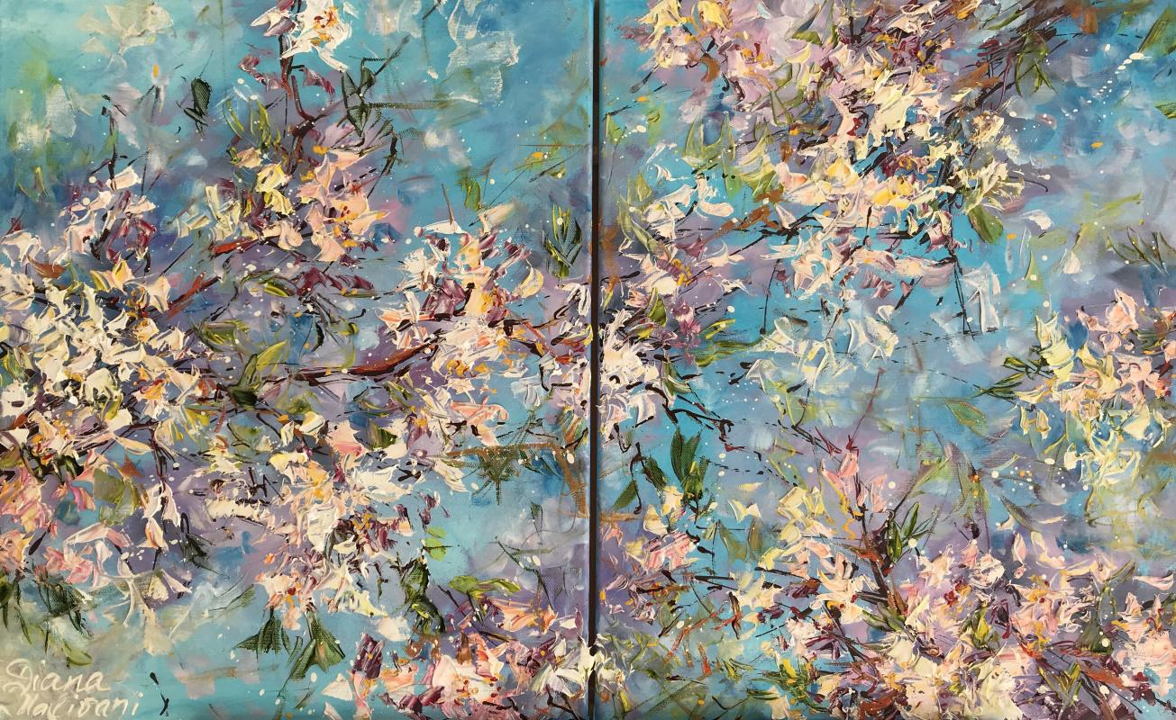 Диана Владимировна Маливани. Blooming Almond Tree. Diptych
