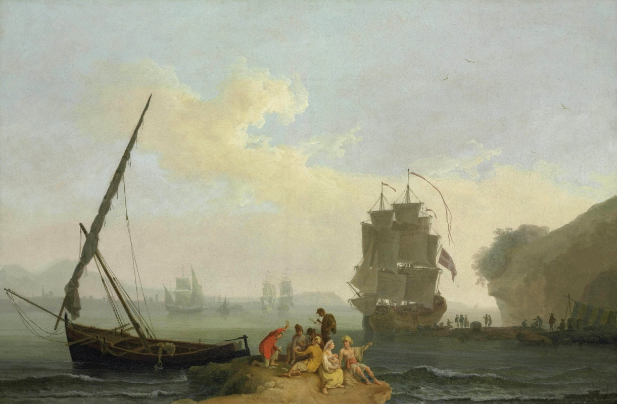 Пьер-Жак Волер Франция. A Mediterranean Bay with figures playing at cards.