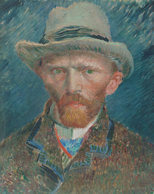 Vincent van Gogh. Self-portrait in gray felt hat