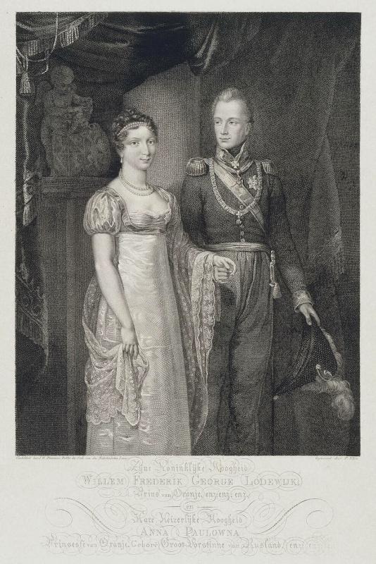 П. Велин. Портрет принца Вильгельма Оранского с женой Анной Павловной