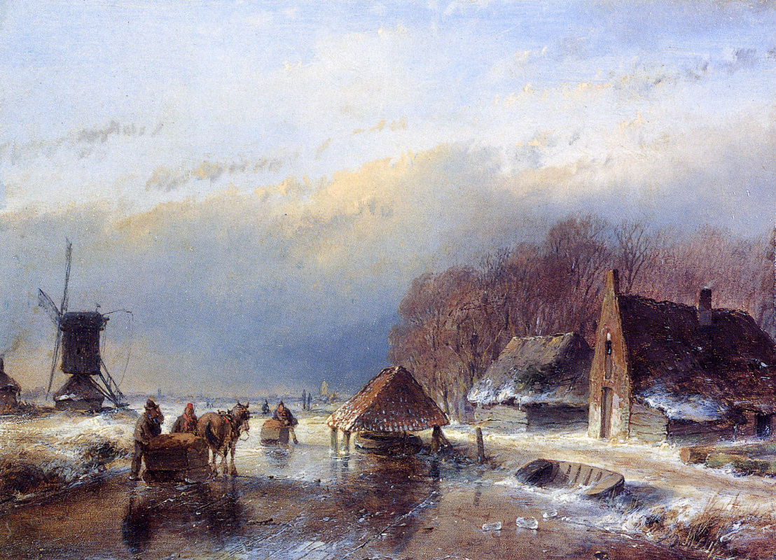 Andreas Schelfout. People with a sled