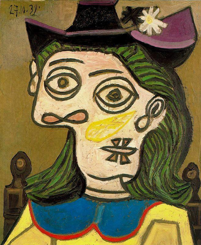 Пабло Пикассо. Женщина в сиреневой шляпе (Дора Маар)