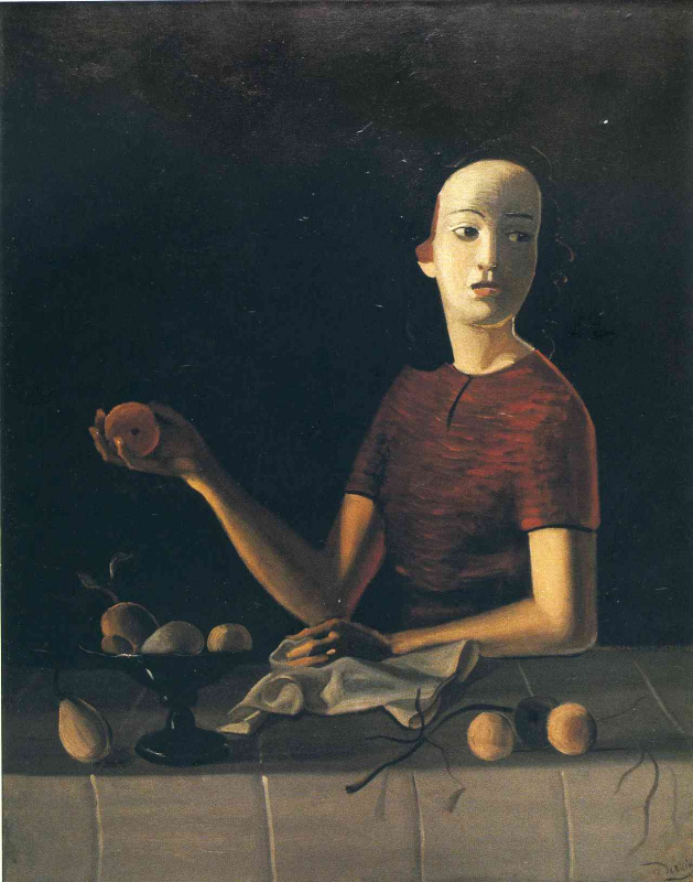 Джейн держит яблоко