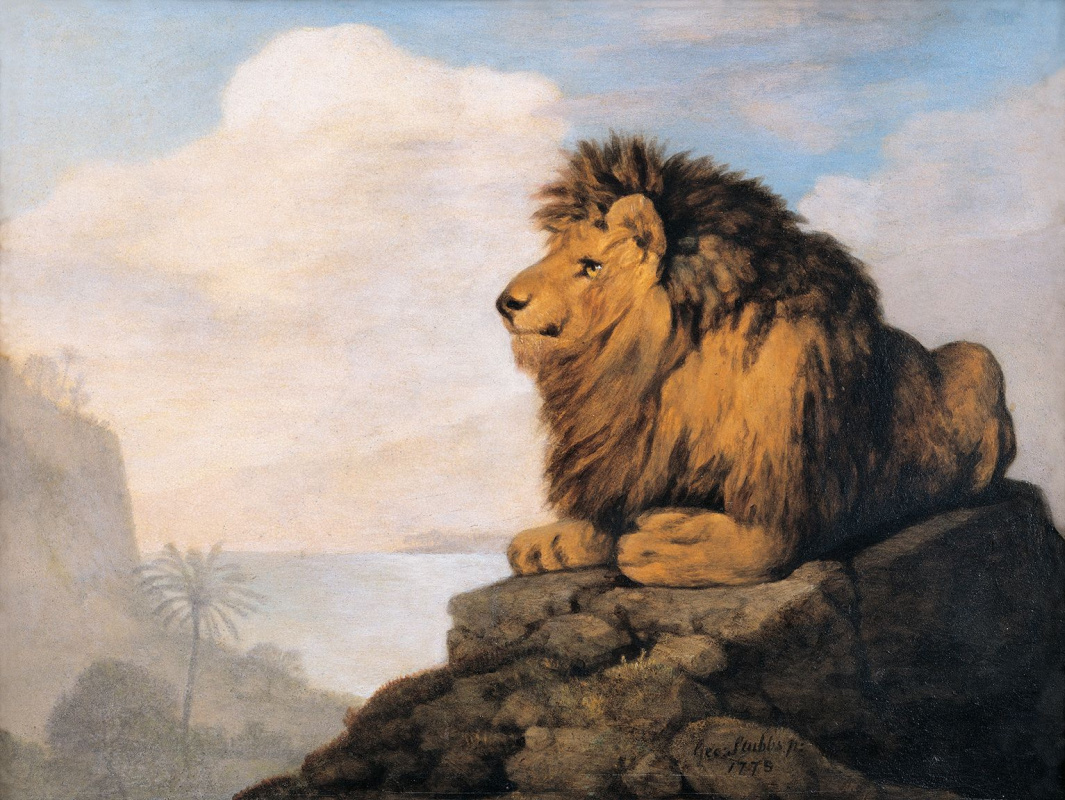 Джордж Стаббс. Лев, лежащий на скале