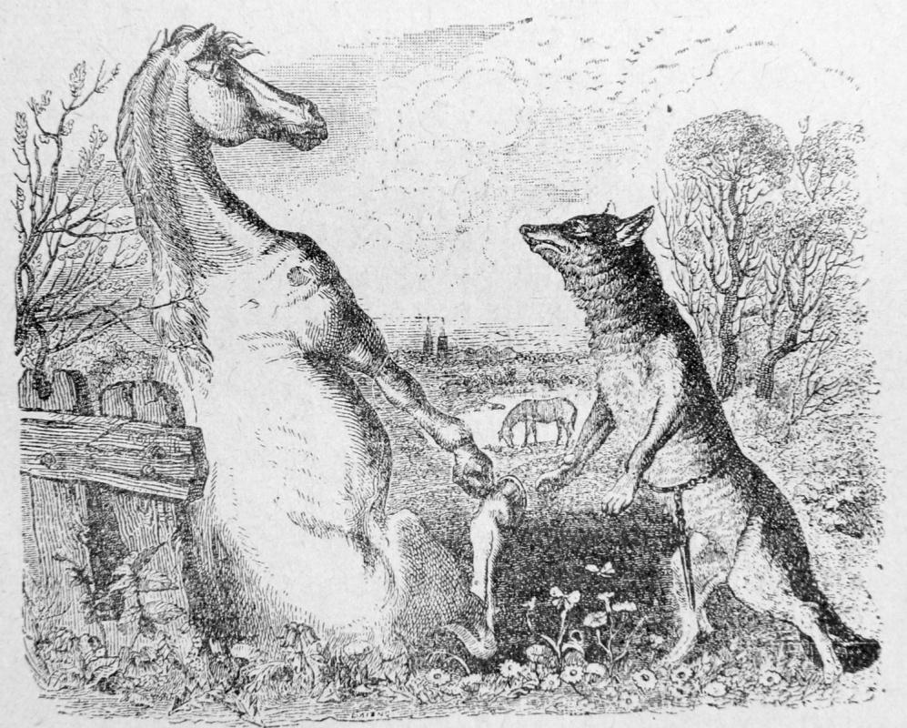 Жан Иньяс Изидор (Жерар) Гранвиль. Волк и Конь. Иллюстрации к басням Жана де Лафонтена
