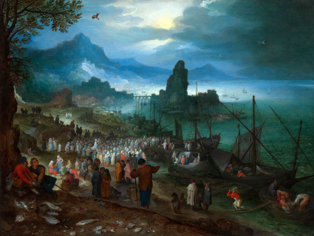 Jan Bruegel The Elder. Port scene with the preaching of Christ. 1597