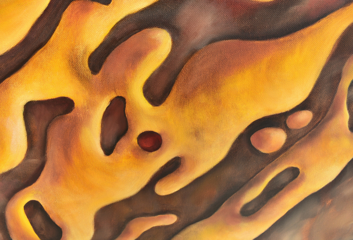THE MUSIC OF WATER. BROWN - original oil painting