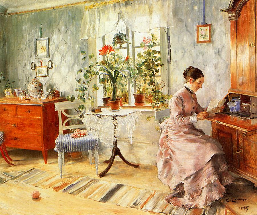 Carl Larsson. Interior with reading woman